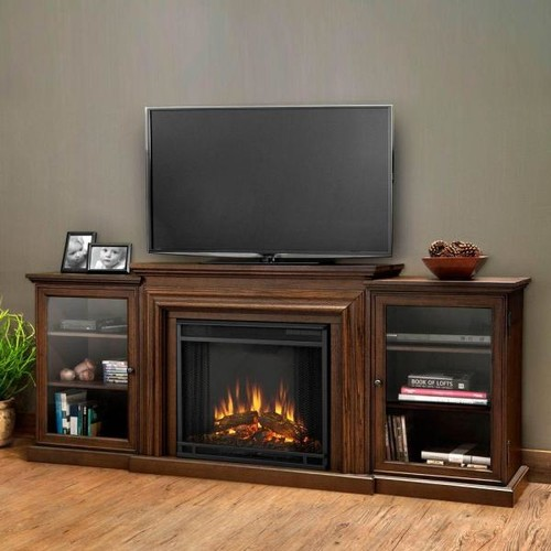 Real Flame Frederick Entertainment 72 in. Media Console Electric Fireplace in Chestnut Oak