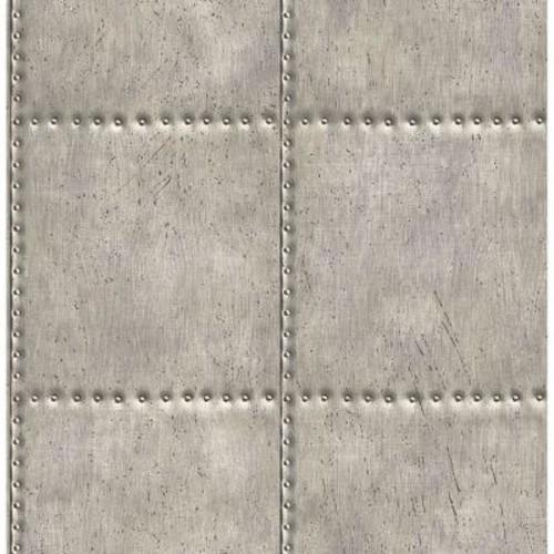Brewster Silver Sheet Metal Rivets Wallpaper