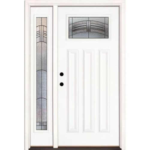 Feather River Doors 50.5 in.x81.625 in. Rochester Patina Craftsman Lt Unfinished Smooth Right-Hand Fiberglass Prehung Front Door w/ Sidelite