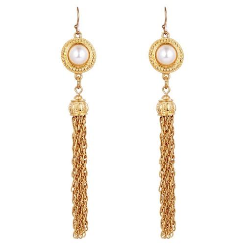 Gold Pearl Tassel Earrings