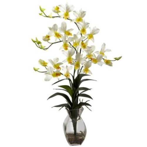 Nearly Natural Dendrobium Orchid with Vase Arrangement in Cream