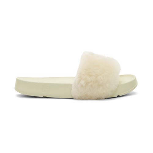 Ivory Fila Edition Shearling Drifter Slides