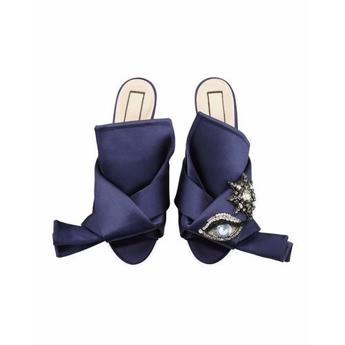NO. 21 Crystal Eye Satin Flat Slide Sandal