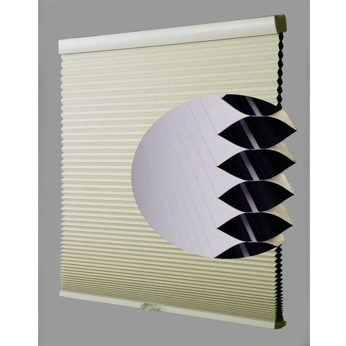 Perfect Lift Window Treatment Ivory-White Cordless Blackout Cellular Shade - 22 in. W x 64 in. L