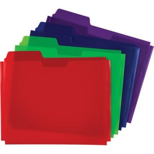 Plastic File Folder Pockets, Letter, Assorted, 5/Pack