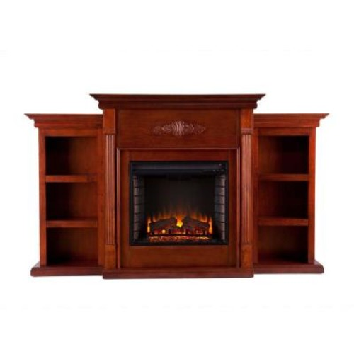 Southern Enterprises Jackson 70.25 in. Freestanding Media Electric Fireplace with Bookcases in Classic Mahogany