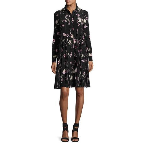 VALENTINO Floral-Print Silk Crepe De Chine Shirtdress, Black/Pink