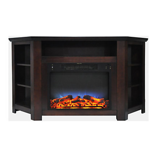 Cambridge Stratford Electric Corner Fireplace With LED Multicolor Display, Mahogany