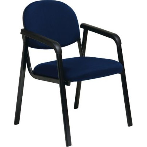 Office Star WorkSmart Fabric Guest Chair with Designer Plastic Shell Back, Navy