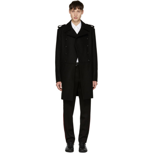 PIERRE BALMAIN Black Long Double-Breasted Military Coat