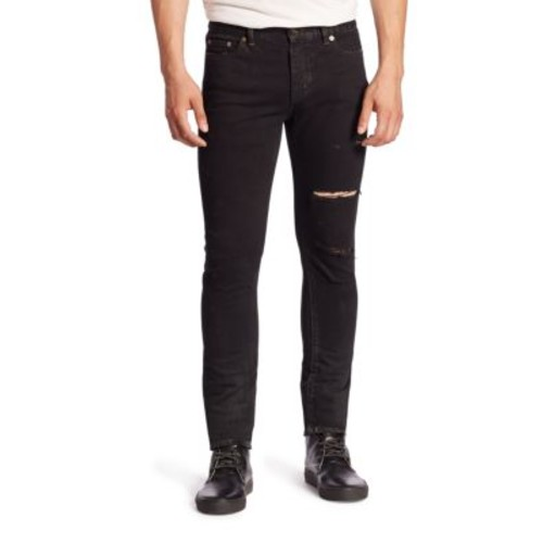 SAINT LAURENT Ripped Straight-Fit Jeans