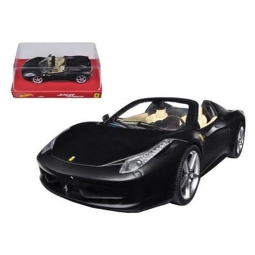 Hot wheels Ferrari 458 Italia Spider Matt Black 1-24 Diecast Car Model (DTDP2448)