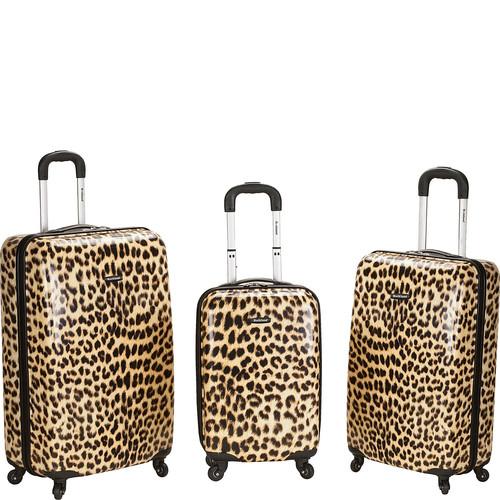 Rockland Luggage Leopard 3 Piece Hardside Spinner Set