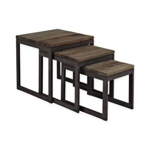 Modway Convert Wood Nesting Tables in Brown (Set of 3)