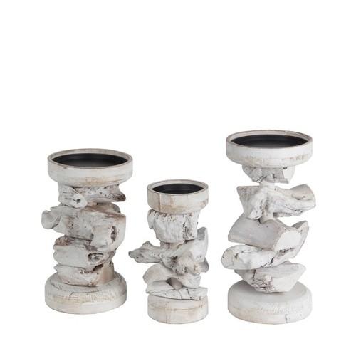 Privilege International White Organic Wood 3-piece Candle Holder Set