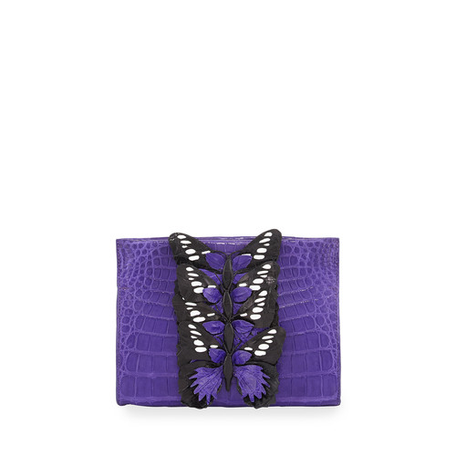 NANCY GONZALEZ Butterfly Crocodile Small Clutch Bag, Purple/Multi