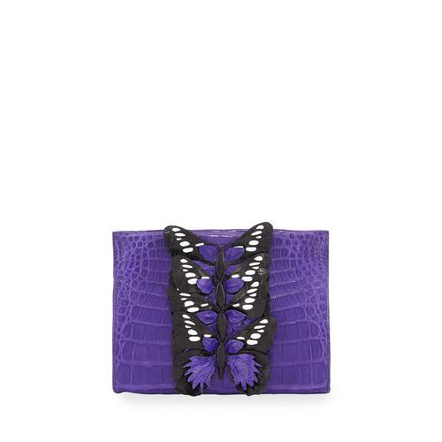 NANCY GONZALEZ Butterfly Crocodile Small Clutch Bag, Purple/Multi