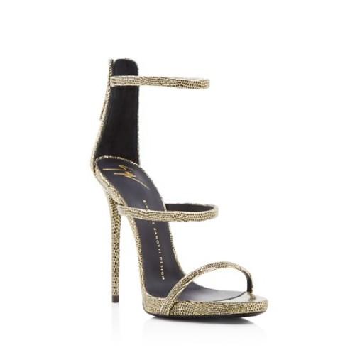 GIUSEPPE ZANOTTI Coline Glitter Embossed Triple Strap High Heel Sandals