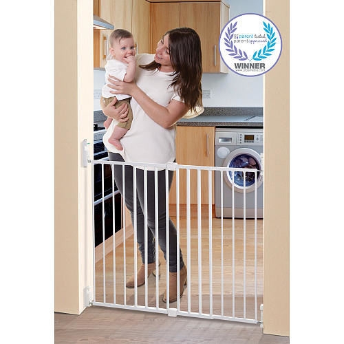 Dreambaby Broadway 30-53 inch Gro-Gate with Track-It Technology - White