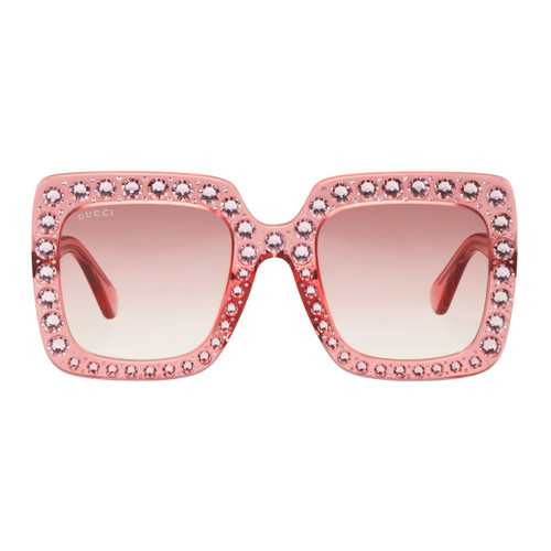 GUCCI Pink Oversized Crystal Sunglasses