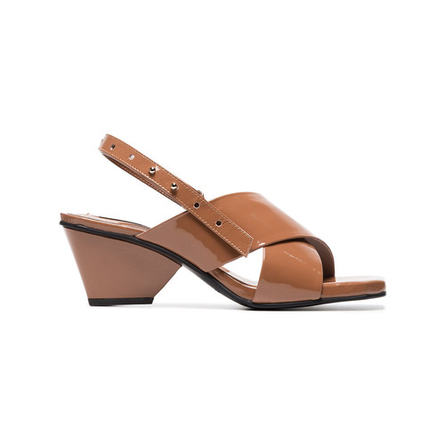 brown 60 patent leather cross-over sandals