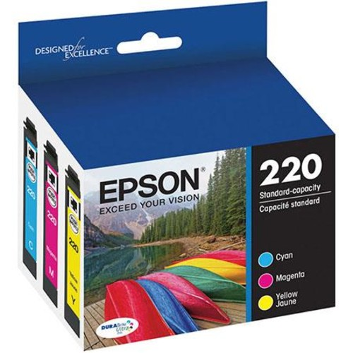 Epson T220 DURABrite Ultra Color Combo Pack Standard Capacity Ink Cartridges,CMY T220520