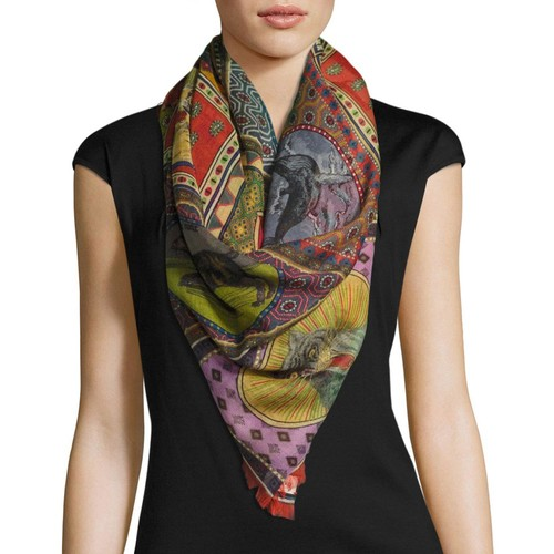 GUCCI Tiger Card Silk Shawl, Multi