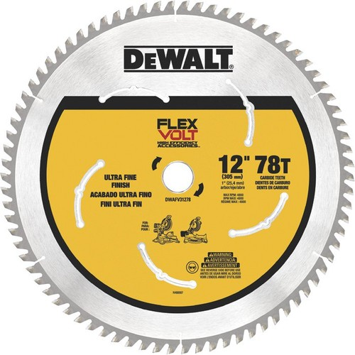 DEWALT FLEXVOLT Circular Saw Blade  12in. Dia., 78 Tooth, Ultra Fine Finish, For Wood,