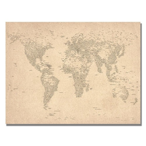 Trademark Global Michael Tompsett 'World Map of Cities' Canvas Art [Overall Dimensions : 18x24]