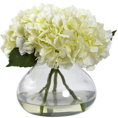 Nearly Natural 1357-CR Large Blooming Hydrangea with Vase, Cream