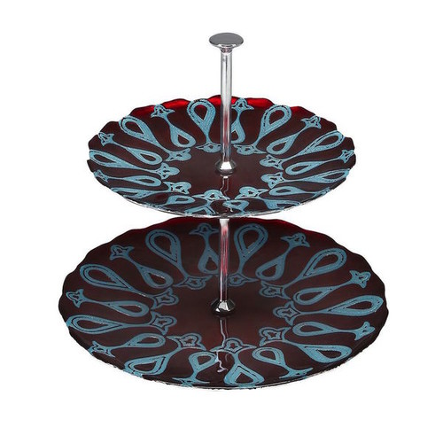 Red Pomegranate Gilded Tableware Serving Platters & Trays Larissa Blue and Red 2 Tier Server