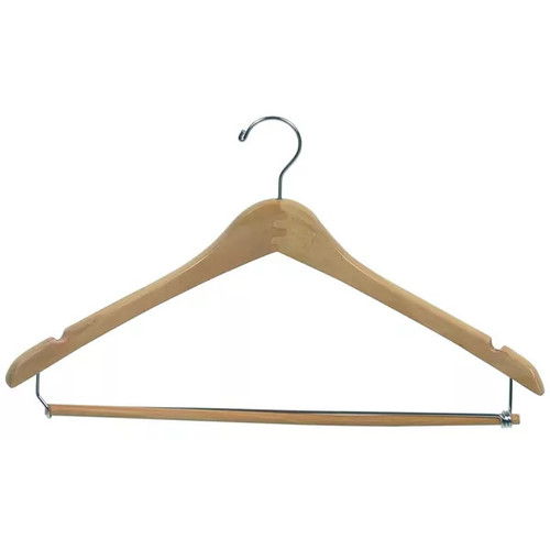 Curved Wooden Suit Hanger with Natural Finish & Locking Pant Bar, 1/2 Inch Thick Hangers with Chrome Swivel Hook