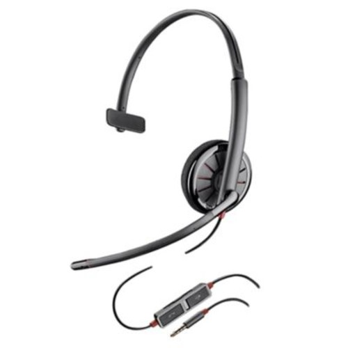 Plantronics Blackwire 215 On-Ear Corded Mono Headset with Noise Cancelling Microphone, Black