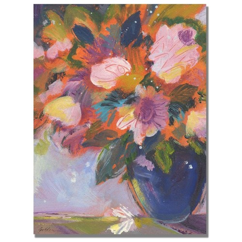 Shelia Golden Cobalt and Purple Flowers Canvas Art