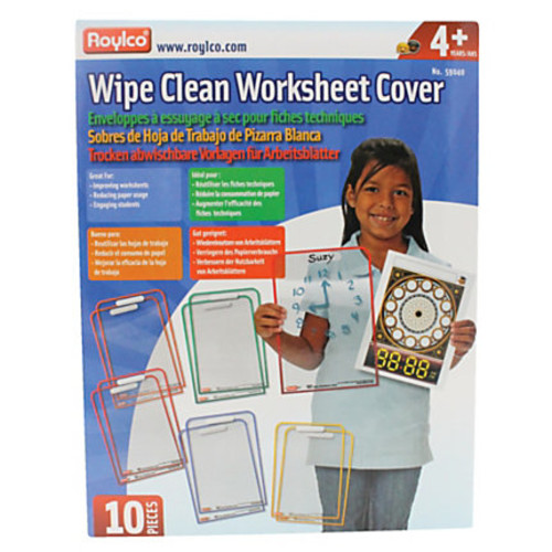 Roylco Wipe-Clean Dry-Erase Worksheet Covers, Plastic, 12 1/2