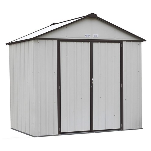 Arrow EZEE Shed 8 ft. x 7 ft. Galvanized Steel Cream/Charcoal Trim High Gable