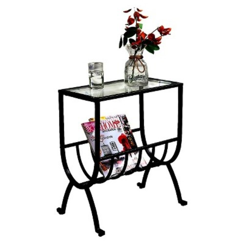 Metal Magazine End Table with Tempered Glass - Brown - Monarch Specialties