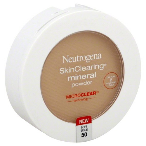 Neutrogena Skin Clearing Mineral Powder, Soft Beige 50, 0.38 oz (11 g)