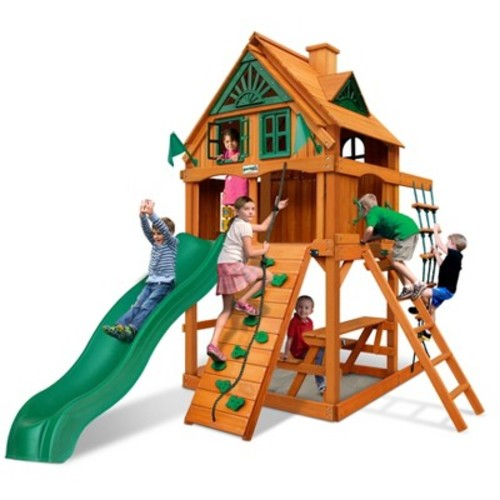 Gorilla Playsets Chateau Tower Treehouse with Fort Add-On & Amber
