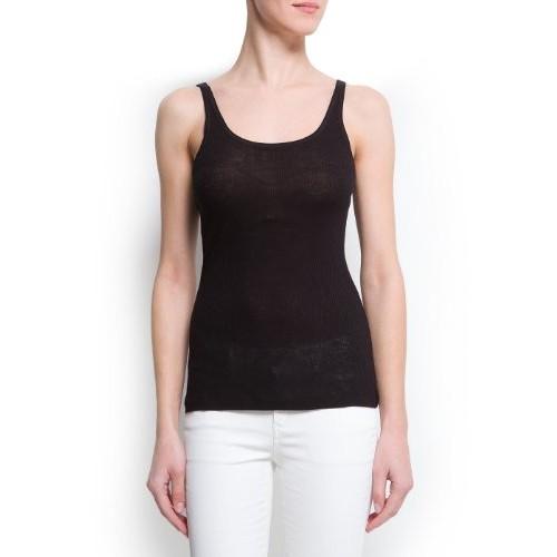 Mango Women's Ribbed Tank Top, Black, Xs