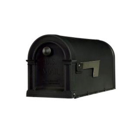 Gibraltar Mailboxes Lincoln Decorative Plastic Post-Mount Mailbox, Black