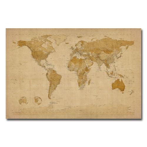 Trademark Global Michael Tompsett 'Antique World Map' Canvas Art [Overall Dimensions : 16x24]