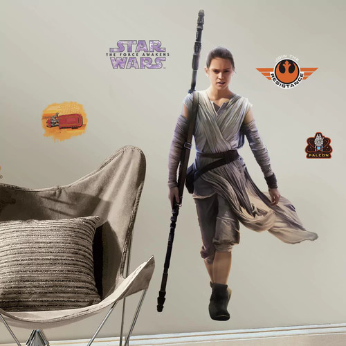 RoomMates 5 in. W x 19 in. H Star Wars EP VII Rey 13-Piece Peel and Stick Giant Wall Decal