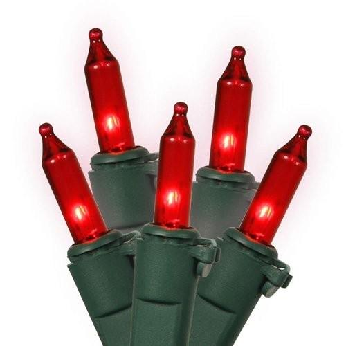 Vickerman Set of 50 Red Mini Christmas Lights - Green Wire