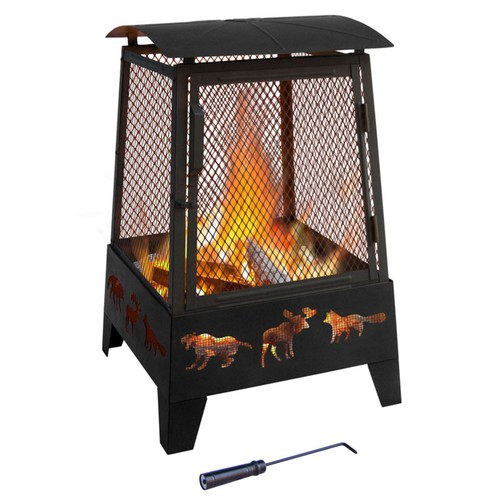 Landmann Haywood Outdoor Fireplace, Wildlife, Black