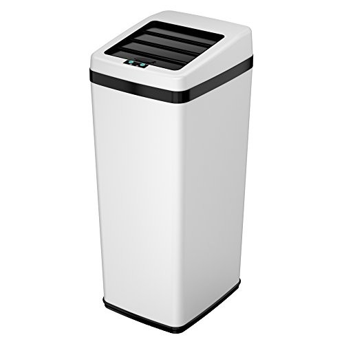 iTouchless Sliding Lid Automatic Touchless Sensor Trash Can  14 Gallon / 52 Liter  White  Kitchen Trash Can [White]
