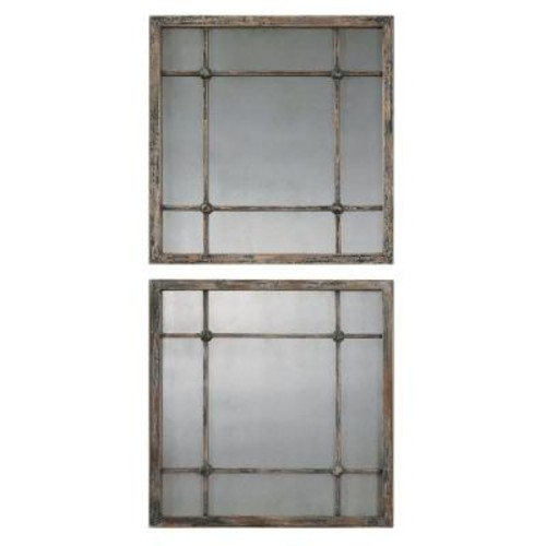 Global Direct 19 in. x 19 in. Slate Blue Square Framed Mirror
