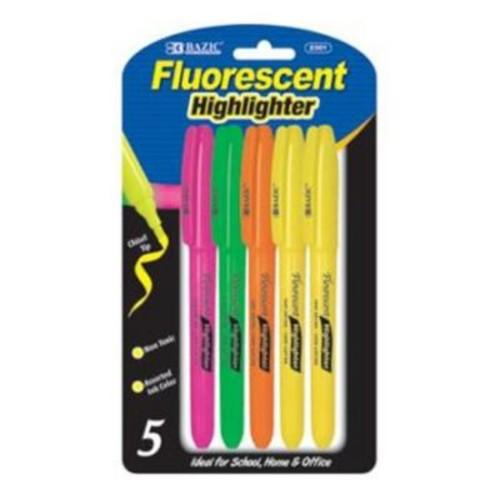 Bulk Buys BAZIC Pen Style Fluorescent Highlighter w/ Pocket Clip (5/Pack) Case Of 24 (DLRDY240961)