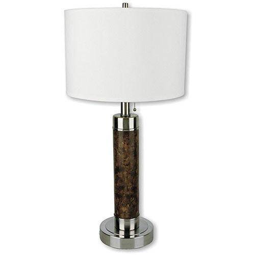 ORE International 26 in. Cylinder Walnut Table Lamp