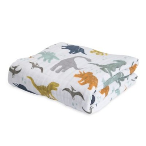 Little Unicorn Dino Friends Cotton Muslin Quilt in Blue/Orange